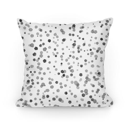 Gray Polka Dot Watercolor Pattern Pillow