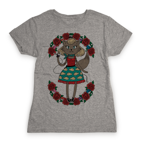 Tattooed Kitty Womens T-Shirt