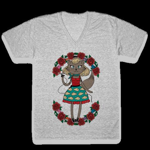 Tattooed Kitty V-Neck Tee Shirt