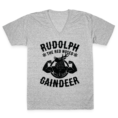 Rudolph The Red Nosed Gaindeer V-Neck Tee Shirt