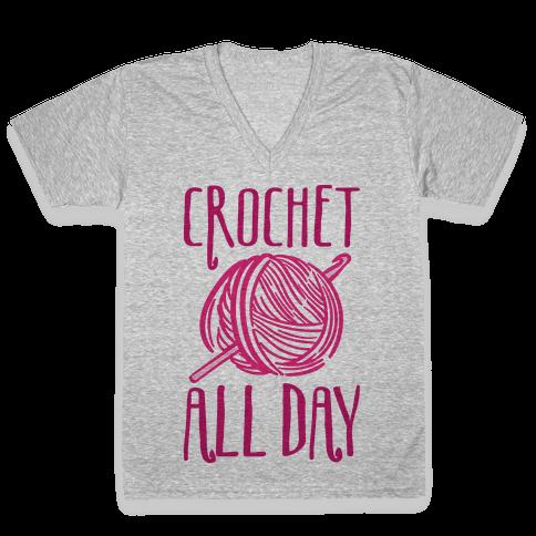 Crochet All Day V-Neck Tee Shirt