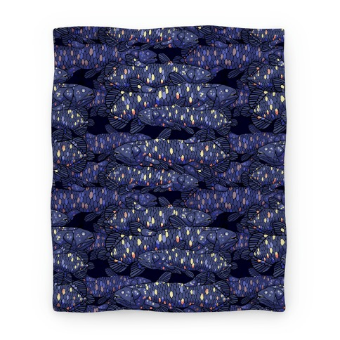 Nautical Coelacanth Fish Pattern Blanket