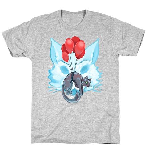 Red Balloon Cat Explorer T-Shirt