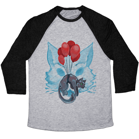 Red Balloon Cat Explorer Baseball Tee
