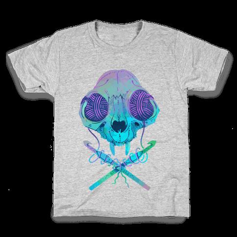 Cat Skull & Crochet Hooks Kids T-Shirt