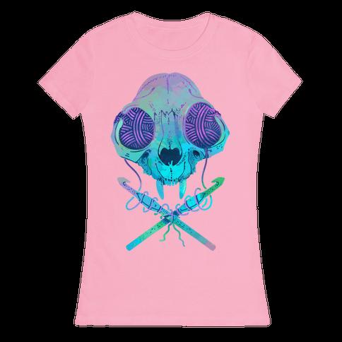Cat Skull & Crochet Hooks Womens T-Shirt