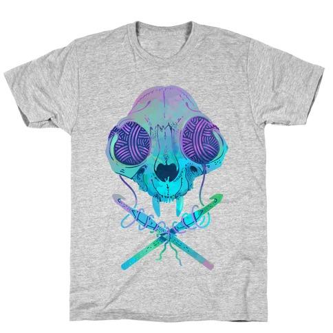 b6fc608a4 Cat Skull & Crochet Hooks T-Shirt