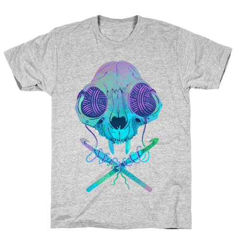 Cat Skull & Crochet Hooks Mens T-Shirt