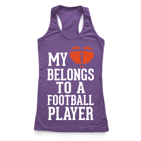 My Heart Belongs to a Football Player (White Ink) Racerback Tank Top
