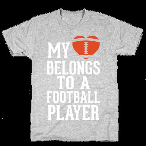 My Heart Belongs to a Football Player (White Ink) Mens T-Shirt