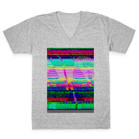 Glitch Art V-Neck Tee Shirt