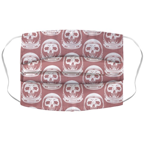 Skulls in Astronaut Pattern Pink Accordion Face Mask