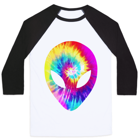 Tie Dye Alien Head Baseball Tee