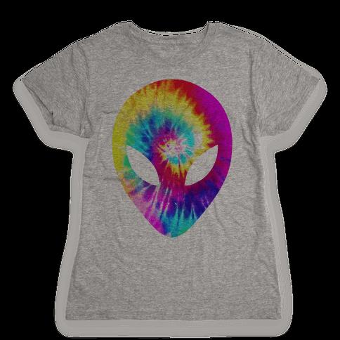 Tie Dye Alien Head Womens T-Shirt