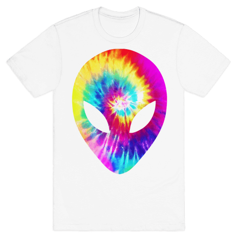 Tie Dye Alien Head Mens T-Shirt