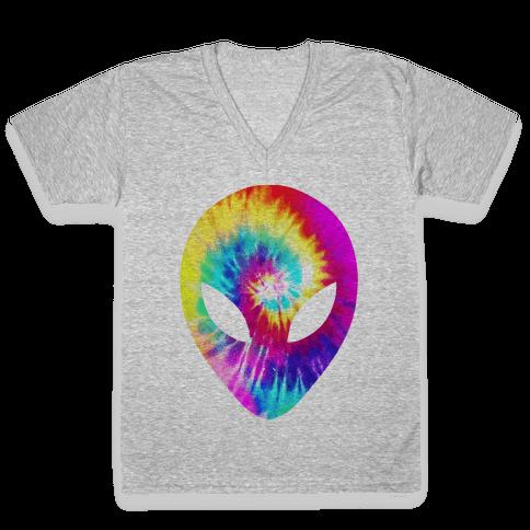 Tie Dye Alien Head V-Neck Tee Shirt