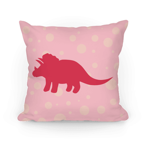 Pink Polkda Dot Triceratops Pillow