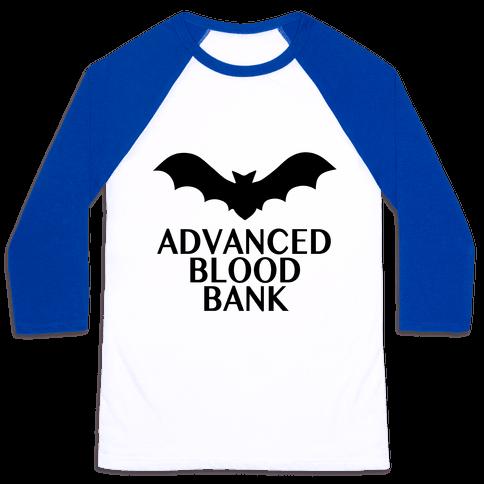 Vampire Advanced Blood Bank Baseball Tee