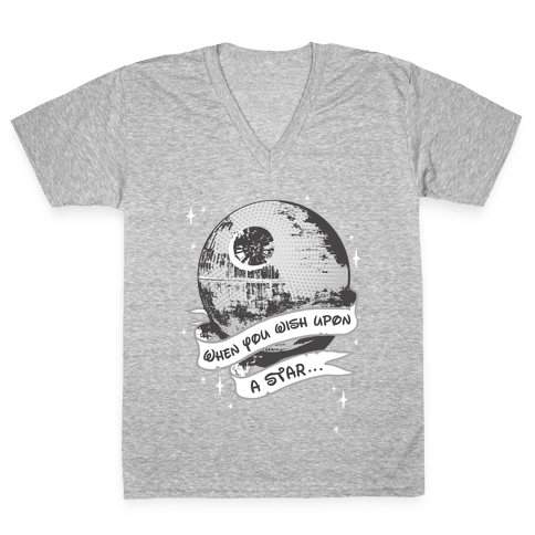 When You Wish Upon A Death Star V-Neck Tee Shirt