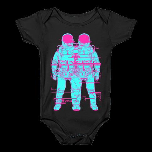 Twin Astronaut Glitch Baby Onesy