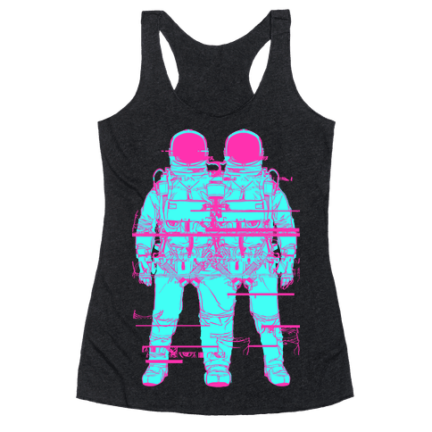 Twin Astronaut Glitch Racerback Tank Top