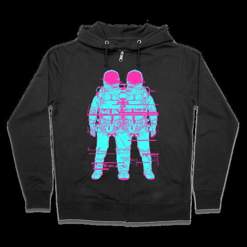 Twin Astronaut Glitch Zip Hoodie