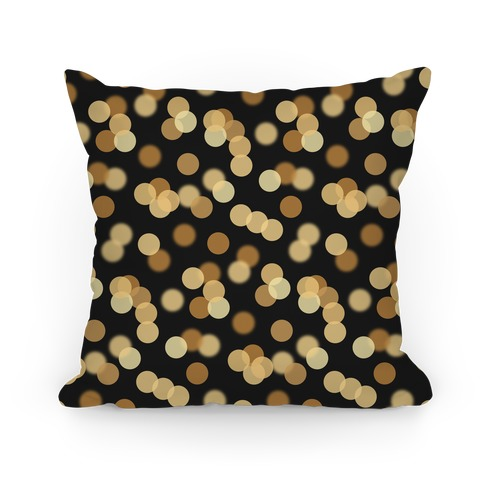 Gold Glitter Bokeh Pattern Pillow