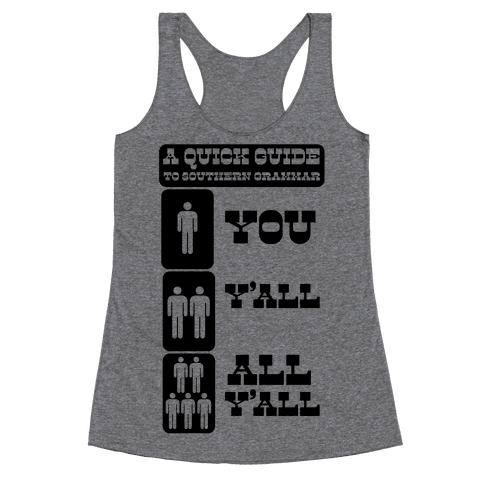 Quick Guide to Southern Grammar Racerback Tank Top