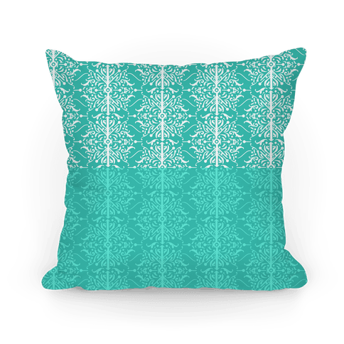 Teal Medieval Ombre Pattern Pillow