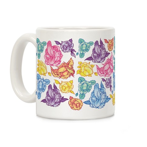 Rainbow Floral Penis Pattern Coffee Mug