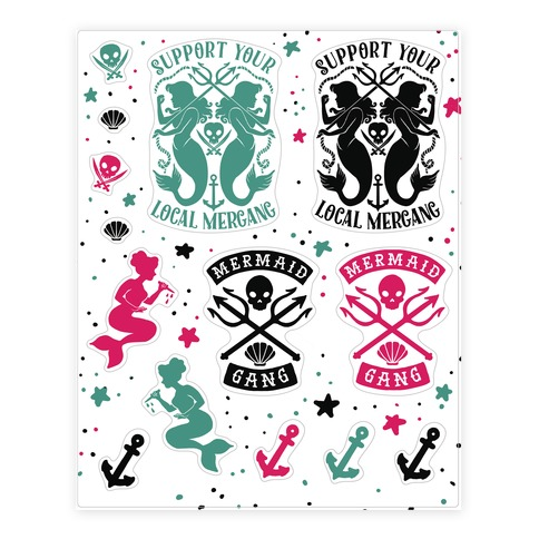 Mermaid Gang Sticker and Decal Sheet