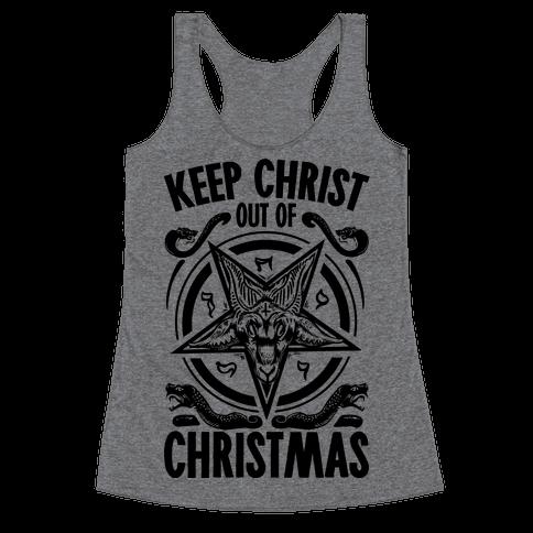 Keep Christ Out of Christmas Baphomet  Racerback Tank Top
