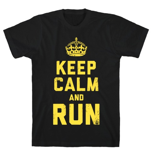Keep Calm and Run (Dark) Mens T-Shirt