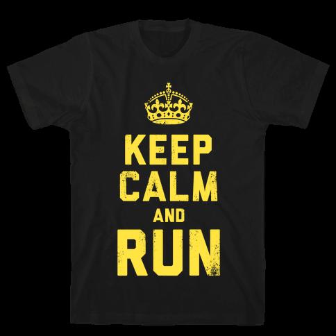 Keep Calm and Run (Dark) Mens T-Shirt
