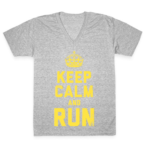 Keep Calm and Run (Dark) V-Neck Tee Shirt