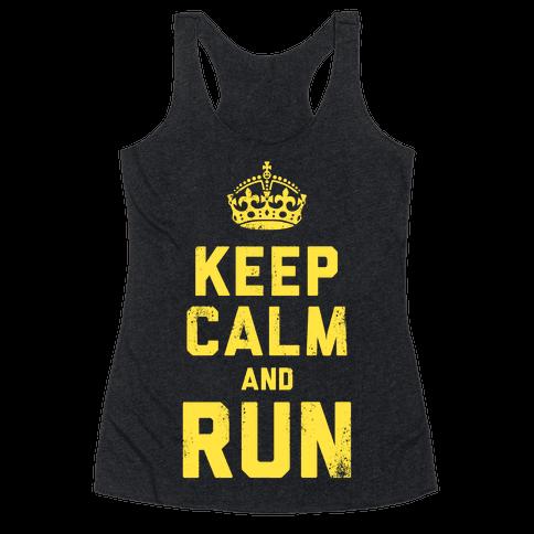 Keep Calm and Run (Dark) Racerback Tank Top