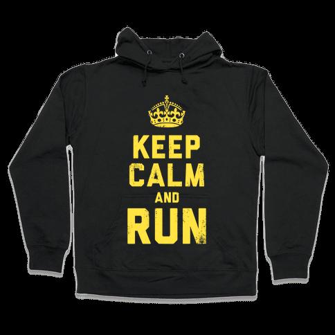 Keep Calm and Run (Dark) Hooded Sweatshirt