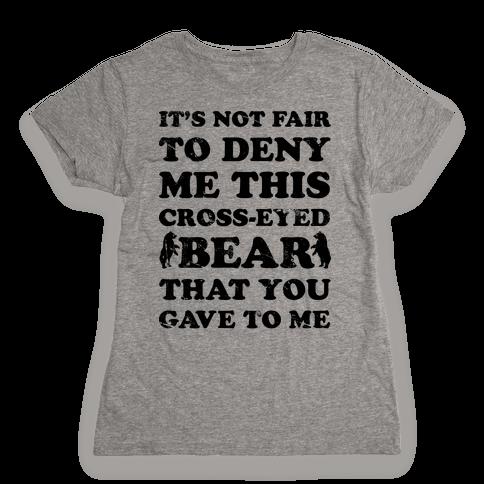 Cross-Eyed Bear Womens T-Shirt
