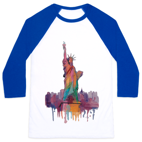 Statue Of Liberty Watercolor Baseball Tee