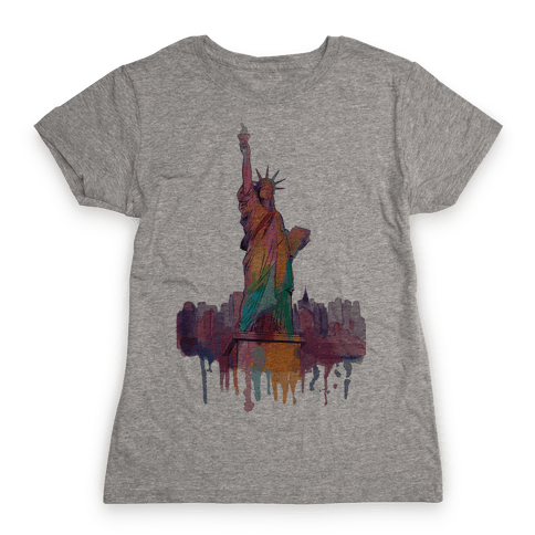Statue Of Liberty Watercolor Womens T-Shirt