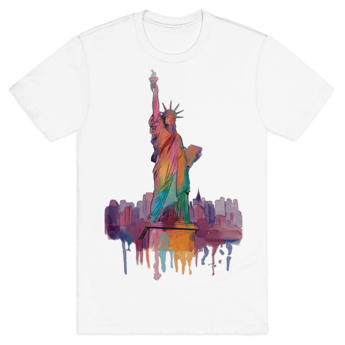 Statue Of Liberty Watercolor Mens T-Shirt