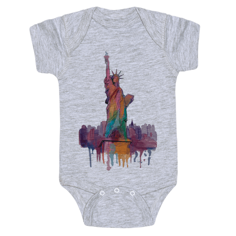 Statue Of Liberty Watercolor Baby Onesy