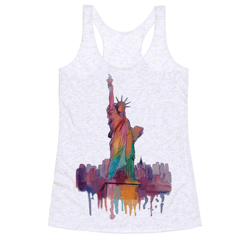 Statue Of Liberty Watercolor Racerback Tank Top