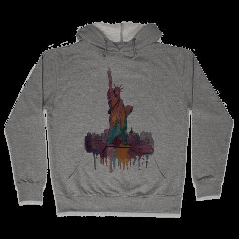 Statue Of Liberty Watercolor Hooded Sweatshirt