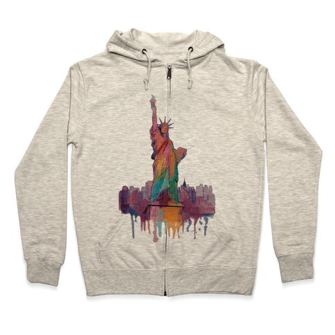 Statue Of Liberty Watercolor Zip Hoodie