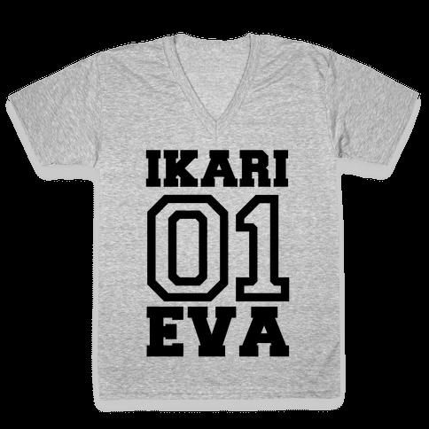 Ikari: Unit 01 Eva V-Neck Tee Shirt