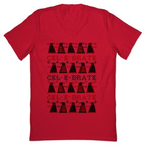 Dalek Ugly Sweater V Neck Tee Shirts | LookHUMAN