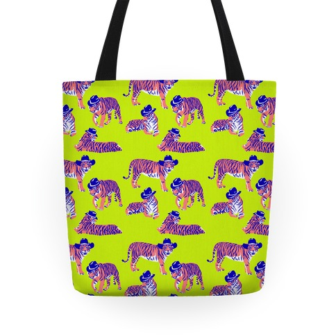 Tigers in Cowboy Hat Neon Pattern Tote