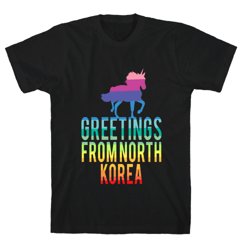 Greetings From North Korea (Rainbow) Mens T-Shirt