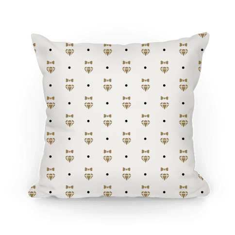 Gold Bows and Diamonds Pattern Pillow